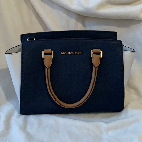Michael Kors Handbags - Navy blue & white Michael Kors Medium Selma Bag